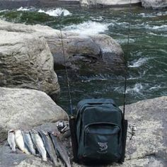 Fishnpack used trout fishing on a mountain stream.