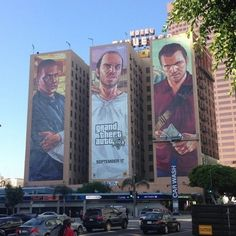 The Campaign for GTA V was a massive success - Rockstar created huge advertisements for the game such as this one of the three main characters - extremely noticeable, extremely eye catching and bold. Makes huge statement about product. Gta 5, Gta Logic, Evolution Of Video Games, Grand Theft Auto Series, V Games, Rockstar Games, Marvel, Video Game Art, Los Angeles