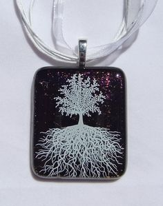 Brown Purple and White Tree of Life Pendant. Fused Glass Pendant with white organza necklace by addicted2glassfusion.etsy.com, $23.00