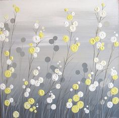Yellow Grey Whimsical Flower Field. by Murray Design Shop.