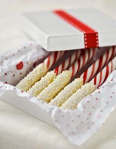 peppermint sticks dipped in white chocolate