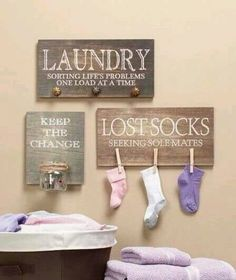 """""""Keep the Change"""" """"Lost Socks"""" """"Laundry Sorting Life's Problems One Load at a Time"""" Laundry room signs Add Chalkboard? Maybe shelf with glass jars for clothes pins, detergent Laundry Sorting, Do It Yourself Inspiration, Do It Yourself Furniture, Diy Casa, Laundry Room Organization, Laundry Rooms, Laundry Decor, Laundry Area, Small Laundry"""