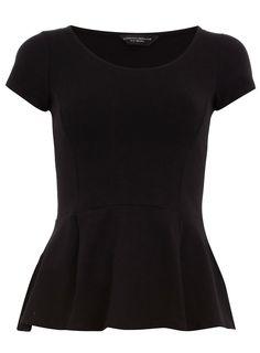 Black stretch peplum tee - Fashion Tops - Clothing - Dorothy Perkins United States