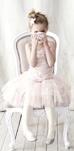 Young girl in ballet tutu Toni Kami ~•❤• Bébé •❤•~  sparkle shabby chic tone on tone photography