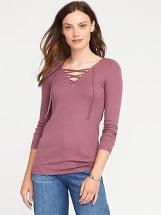 Love this semi fitted lace up top!! #affiliatelink #fashion #style #womens #laceuptop