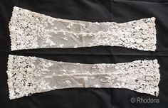 Victorian Lace Sleeves or Fingerless Lace Gloves.  Pair of very pretty Lace Sleeves or Fingerless Gloves possibly Honiton Lace. Dating to th...