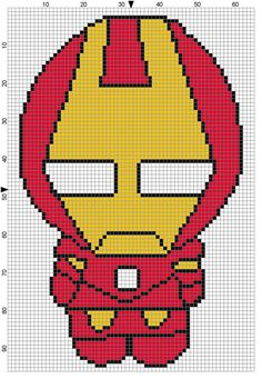 what to put this chart on?- eyeglass case, framed picture, chair cover, etc. Iron Man (Weenie) Cross Stitch Pattern - Professional Pattern Designer and Artist Collaboration Cross Stitch For Kids, Cross Stitch Baby, Cross Stitch Charts, Cross Stitch Designs, Cross Stitch Patterns, Cross Stitching, Cross Stitch Embroidery, Iron Man, Beading Patterns