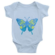 Blue Yellow Butterfly Baby Bodysuit