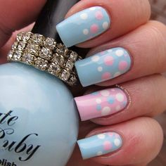 pink & blue polkadots It's all about the polish: Pregnancy and Infant Loss - Wave of Polish Dotticure Fabulous Nails, Gorgeous Nails, Love Nails, Pretty Nails, Baby Shower Nails, Baby Nails, Baby Nail Art, Gender Reveal Nails, Polka Dot Nails