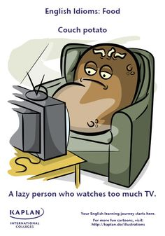 Are you a couch potato? Discover how to use food idioms with this fun illustration! Learn to speak English like a native with Kaplan International Colleges! English Vocabulary, English Grammar, Teaching English, English Language, English Tips, English Study, English Lessons, Potato Funny, Grammar Posters