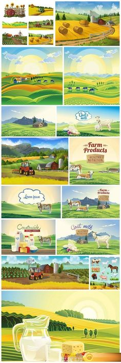 Mountain landscape and farm 15X EPS http://www.desirefx.me/mountain-landscape-and-farm-15x-eps/