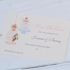 Vintage Style Birdcage Wedding Invitation - very simple, classic style. Like the small 3D detail.
