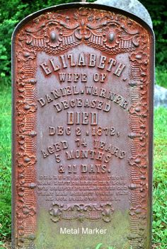 Iron has to be cast and it rusts over time. We found a number of these in the Bevans Cemetery in Walpack, NJ.