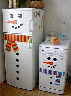 Adorno navideño para refrigerador - Haz una original y bonita manualidad navideña y convierte a tu refrigerador en un muñeco de nieve. Es muy sencillo