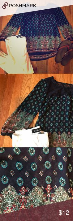 Mine Chiffon and Lace Patterned Shirt This super cute Mine shirt would look great with your favorite pair of white jeans and flip flops, diverse this hurt can be worn through the fall spring and summer months. It can be worn layered for that extra comfort! Mine Tops Blouses