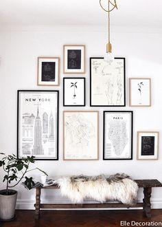 Un mur de cadres Plus de photos pour trouver l'inspiration sur le blog <3