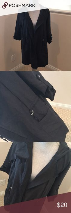 Black Utility Jacket - M Excellent Used Condition!  Worn 3 Times at Most - Just Been Sitting in My Closet.  Cinches at the Waist, Rolled Up Sleeves Come Down.  Soft, Comfy Fabric.  Pockets! :) Bought @ a Local Boutique. BE COOL Jackets & Coats Utility Jackets