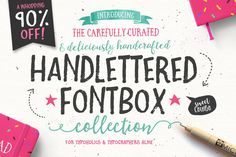 The Handlettered Fontbox - 24 Individual Fonts, 180 Vector Illustrations and 12 Premade Logo Templates. Commercial use OK - great for signs, vinyl projects, HTV t-shirts, dye sublimation artwork, and more.
