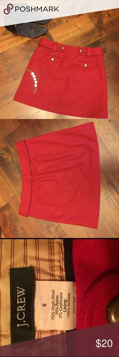 J. CREW Red Wool Skirt J. CREW red wool skirt with brass colored buttons. J. Crew Skirts Midi