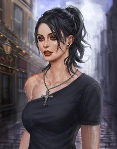 f Sorcerer Cleric Robes Necklace portrait female urban City street med Fantasy Women, Fantasy Girl, Fantasy Character Design, Character Art, Fantasy Inspiration, Character Inspiration, Fantasy Characters, Female Characters, Cyberpunk