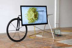 continuing their exploration with modular and easily movable furniture items, new york-based studio CW have developed the  'TV barrow', a  stand which makes manoeuvring your televsion around the house a lot easier. essentially. the design comes to life through  the attachment of a 700c road bike wheel to a bicycle fork and machining aluminum connections to fit around standard 1″ tubes of the same material.