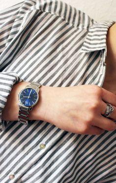 THECLASSYDRESSY.COM - Calvin Klein City Watch with blue dial #fashionblog #fashion #accessories #howtowear #Calvin_Klein #cK #silver_watch #minimal_chic