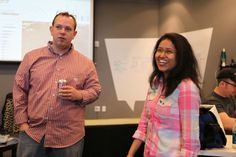 Senior product manager Will shares a laugh with project manager Pranati.