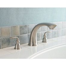 Buy the Pfister Rustic Pewter Direct. Shop for the Pfister Rustic Pewter Avalon Deck Mounted Roman Tub Filler and save. Roman Tub Faucets, Bathroom Faucets, Shower Fixtures, Tub Surround, Brass Faucet, Shower Tub, Soap Dispenser, Polished Chrome, Pewter