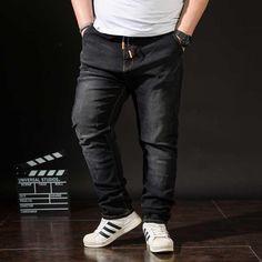 724533cb6e9a5 Plus Size MEN S JEANS Slim Fit Denim Pant Trousers Stretch Elastic  Adjustable Waist Black Autumn Winter