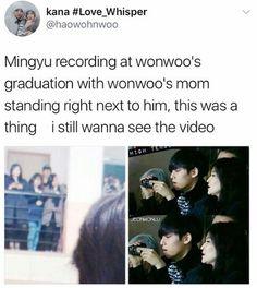 Mingyu and Wonwoo. Mingyu Wonwoo, Woozi, Steven Universe, Astro Sanha, Day6 Sungjin, Funny Quotes, Funny Memes, Seventeen Memes, Kdrama Memes