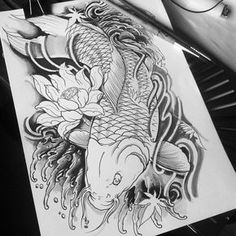 Shading koi fish!!  now colorss!! BG-15 oriental tattoo design.