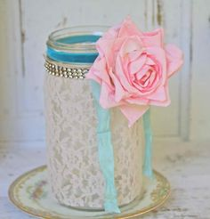 Shabby Chic Lace Candle Holder Wedding Favor