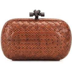 Bottega Veneta Knot Snakeskin Clutch (€1.785) ❤ liked on Polyvore featuring bags, handbags, clutches, brown, bottega veneta handbags, bottega veneta purse, snake print handbag, snakeskin handbags and snake print purse