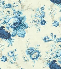 Waverly Upholstery Fabric-Sanctuary Rose/Cornflower