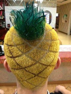 """Pineapple head?! Almost as stylin as his sister with the """"Christmas Weave...""""  I hope this is for a ride on a parade float."""