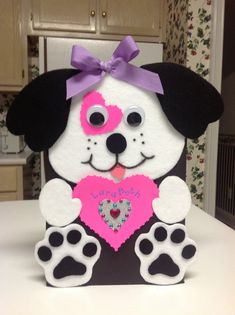 Super CUTE Valentine box ideas for girls include this puppy with a pink heart and bling. Valentine's Day is a great day to show your Cherished Miss how much she's adored. Puppy Valentines, My Funny Valentine, Valentines Day Party, Valentine Day Crafts, Printable Valentine, Valentine Template, Free Printable, Valentine Ideas, Homemade Valentines