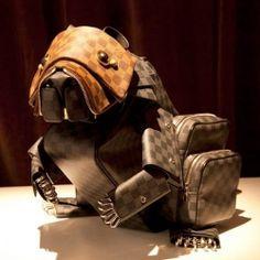 Stunning animal sculptures made from Louis Vuitton leather merchandise by Billie Achilleos.