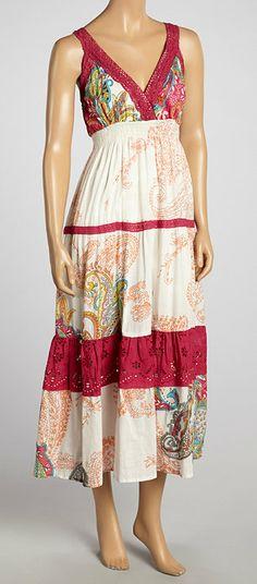 Fuchsia & White Paisley Maxi Dress
