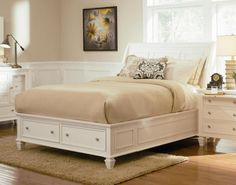Stunning Bedroom Interior Design With White Wooden Queen Platform Bed  With White Wooden Drawer Set As Well Beige Rug Under The Bed Also Frame On The Wall Beside Window Elegant Platform Bed Decoration Fashion Modern Bedrooms Greatly Bedroom design