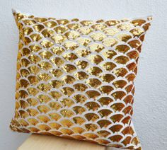 Gold sequin pillows with embroidered waves - Sashiko pillow covers - Gold Cushion cover zipper - Throw pillow - gift - 16x16 - Gold pillows. $36.50 USD, via Etsy.