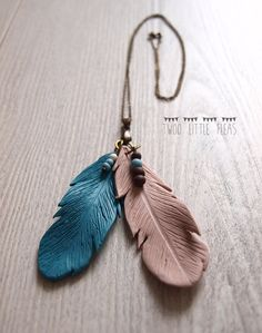 Polymeer klei feather ketting