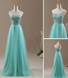 2015 Mint Green Tulle Strapless Beaded Long Prom Dress