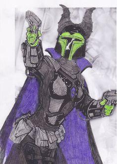 Concept for Mandaleficent, a mash-up between a Star Wars Mandalorian Mercenary and a Disney character.