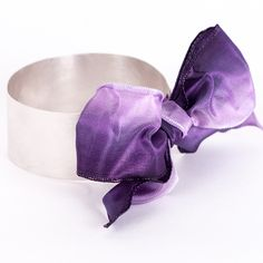 Bow Bangle - sterling silver and ombre ribbon