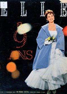 Brigitte Bardot (b.1934) porte une robe de mariée, pour le 9eme anniversaire du magazine Elle, 1er novembre 1954, Bibliothèque des Arts Décoratifs, Paris.