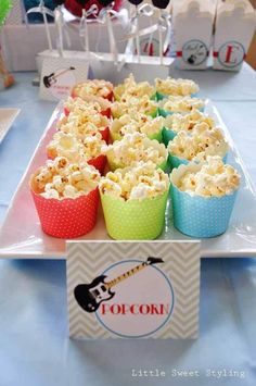 Guitar Rock Star Birthday Party Popcorn Ideas