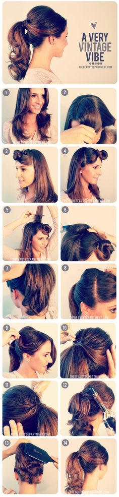 Easy vintage hair. Always looking for fun quick ways that add a retro look to the tresses.