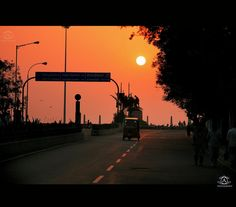 Godly sunrise as seen from RK Salai in Chennai, India.