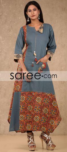 Grey and Multi Color Cotton Designer Kurti