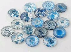 10 Glass Cabochons 12mm Blue Floral W124a £1.00